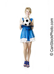 Blond girl in a blue dress with soccer ball
