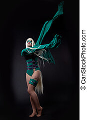 blond girl in green fury cosplay character - blond girl...