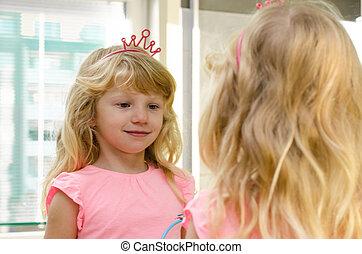 blond girl in mirror