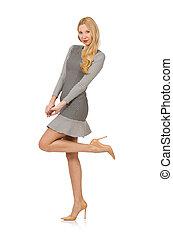 Blond girl in polka dot dress isolated on white