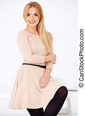 Blond girl in pose