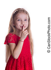 Blond girl in red dress putting finger up to lips saying shhh