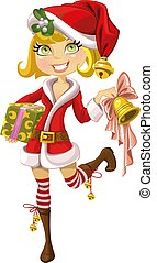 cute blond girl in Santa suit with bell