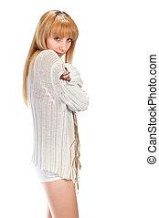 blond girl in white