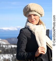 Blond girl in winter