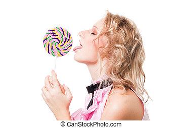 Blond girl lick lollipop - Blond attractive girl lick big...