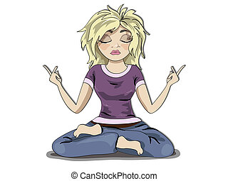 Blond girl meditation - Funny young blond girl character,...