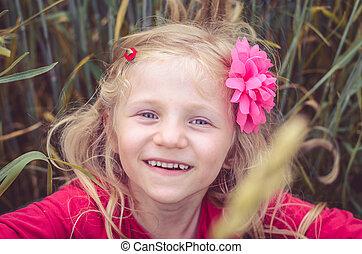 blond girl portrait,