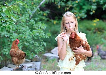 blond,  girl, poulets, jardin
