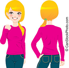 Blond Girl T-shirt - Front and back view of beautiful blond ...