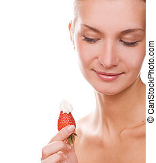 Blond girl with a strawberry