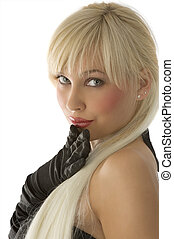 close up of graceful young blond woman with blue eyes and black gloves