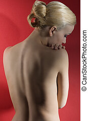 blond girl with nude shoulder
