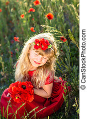 blond girl with red poppy flowers