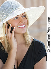 Blond Girl Woman Talking On Cell Phone