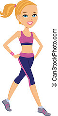Blond Girl Working out - Blond cartoon woman running and...