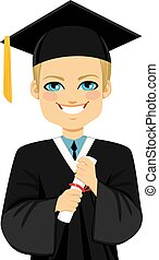 Blond Graduation Boy - Happy blond student boy on graduation...