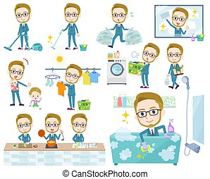 A set of Businessman related to housekeeping such as cleaning and laundry. There are various actions such as cooking and child rearing. It's vector art so it's easy to edit.