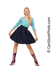 Blond hair girl in dark blue skirt isolated on white