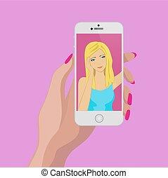 Blond hair girl make selfie. Girl face in phone display.