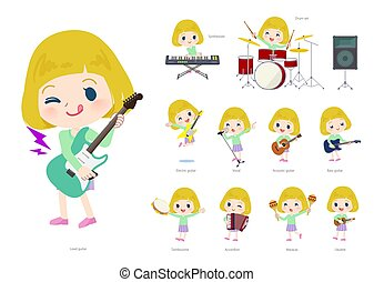 blond hair girl pop music - A set of Caucasian girl playing ...