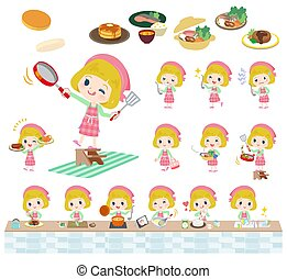 blond hair girl_cooking - A set of Caucasian girl about...