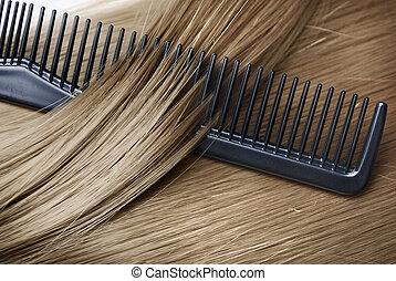 Blond Hair - Long healthy blond hair and cumb