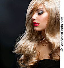 blond, hair., piękny, blond, kobieta, na, czarnoskóry