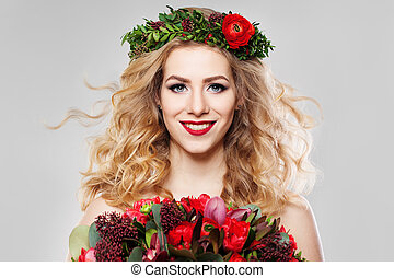 Blond Hair Woman with Summer Flowers