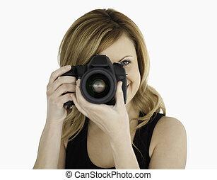 blond-haired, 女, 写真を撮る, ∥で∥, a, カメラ