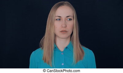 blond haired lady shows sign have idea - portrait beautiful...