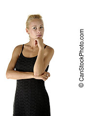 blond in black dress isolated white