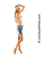 blond in denim skirt and bikini