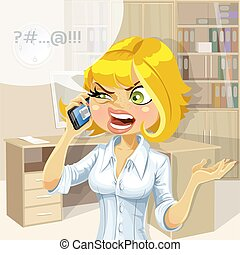 Blond in office talking on phone