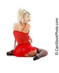 blond, in, röd, damunderkläder