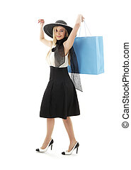 blond in retro hat with blue shopping bag #2