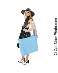 blond in retro hat with blue shopping bag #3