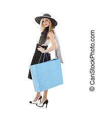 blond, in, retro, hut, mit, blaues, einkaufstüte, #3