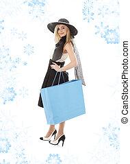 blond, in, retro, hut, mit, blaues, einkaufstüte