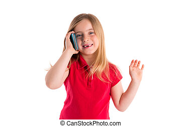 blond indented girl smiling talking smartphone