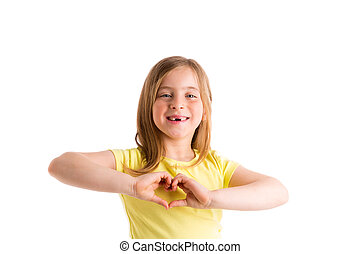 Blond indented kid girl hearth shape fingers smiling