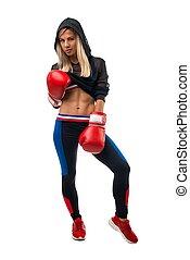 blond, isolé, gants, vue, boxe