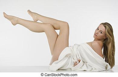 blond, jambes, femme, brin, long, beau