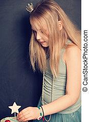 blond, jeune fille, petit gâteau