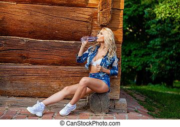 blond, junger, schöne , kleidung, frau, jeans, sexy