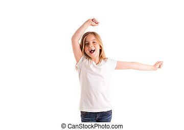 blond kid girl indented jumping high wind on hair denim...