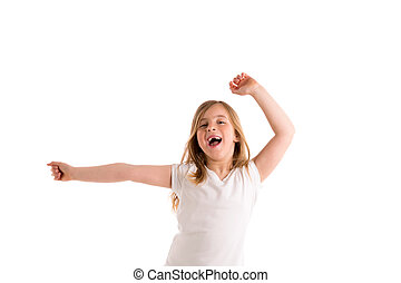 blond kid girl indented jumping high wind on hair