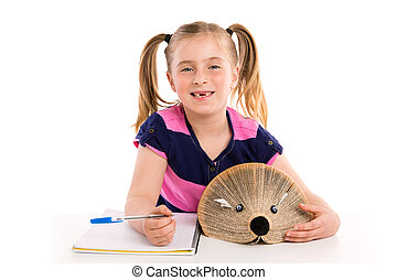 Blond kid girl student with hedgehog book
