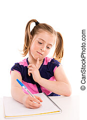 Blond kid girl student with spiral notebook in desk
