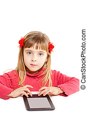 Blond kid little girl with ebook tablat pc portrait